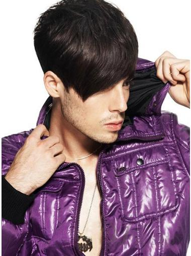 Natural Remy Human Hair Short Brown Capless Wigs For Men Online Cheap