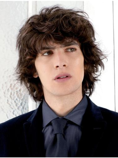 100% Hand-Tied Wavy Short Mens Wigs For Sale