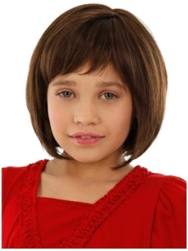 100% Hand-Tied Auburn Chin Length Online Kids Wigs
