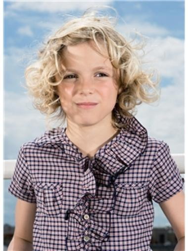 Soft Chin Length Blonde Curly Children Wigs For Sale