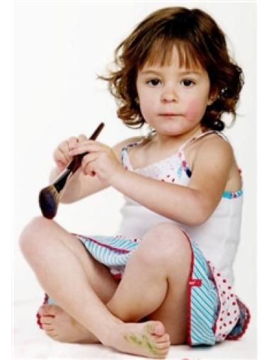 Fashionable 100% Hand-Tied Auburn Wavy Child Wigs