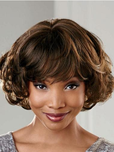Top Capless Brown Short Wavy Synthetic Wigs With Bangs