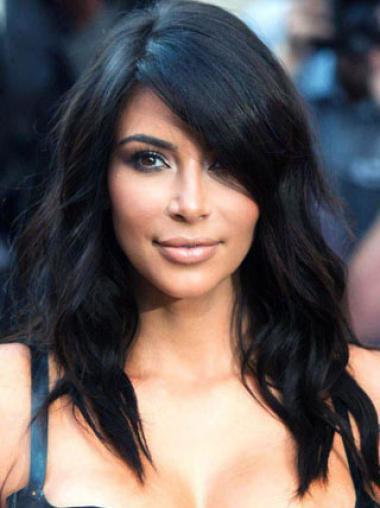 Capless Without Bangs Remy Human Hair 16 Inches Stylish Kim Kardashian Human Hair Wig
