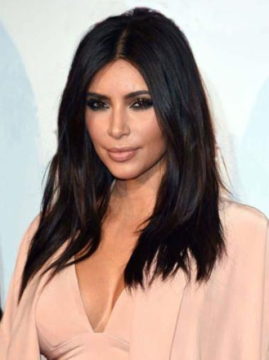 Lace Front Without Bangs 18 Inches Comfortable Kim Kardashian Hair Wig