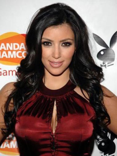 Full Lace Without Bangs Long Fashionable Kim Kardashian 2018 Hair Wig