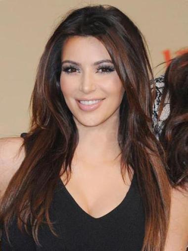 Without Bangs Long Gorgeous Kim Kardashian Full Lace Wig