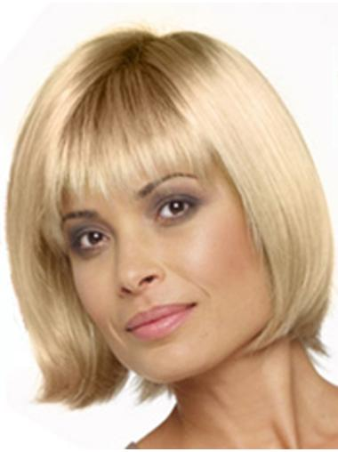 10 Inches Capless Blonde Chin Length Synthetic Bob Wigs For Women