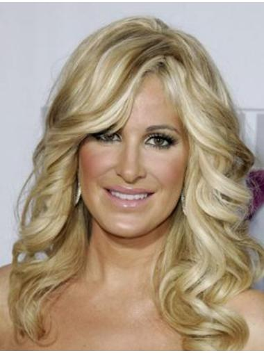 Without Bangs Blonde Long Exquisite Human Hair Wigs