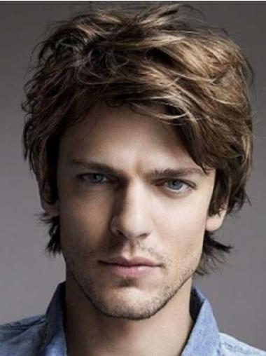 Lace Front Wavy Fashion Best Human Hair Mens Wigs