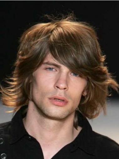 Wavy Chin Length Best Men Wig Real Hair