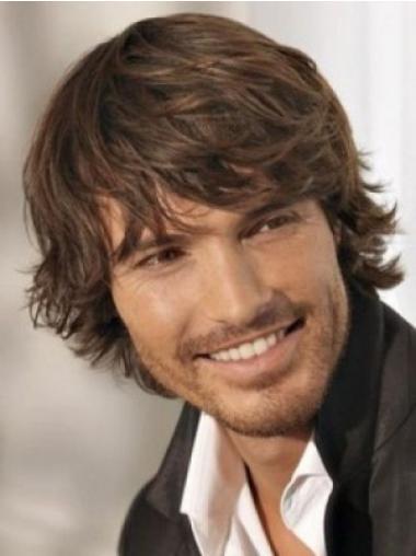 Wavy Chin Length Top Natural Hair Wigs For Men
