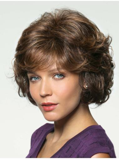 "10"" Cheapest With Bangs Brown Human Hair Wigs"