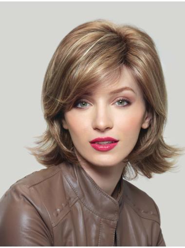 Chin Length Synthetic Flexibility Blonde Medium Length Wigs Cheap
