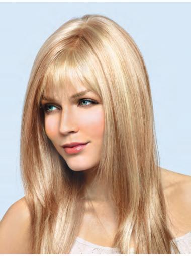 "16"" Popular With Bangs Blonde Lightweight Human Hair Discount Wigs"
