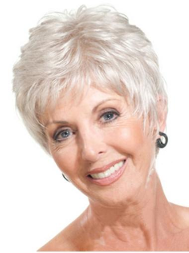 Monofilament Straight Synthetic Best Silver Grey Wigs