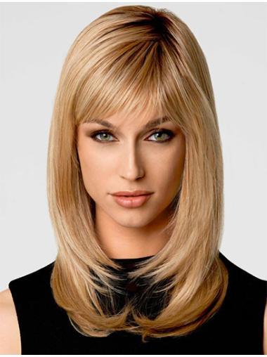 Shoulder Length Synthetic Top Blonde Wigs Medium