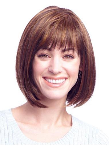 "Auburn Straight 12"" New Human Hair Womens Wigs"