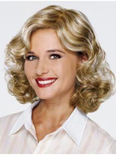 Without Bangs 13 Inches Monofilament Wigs For Cancer Patients Curly