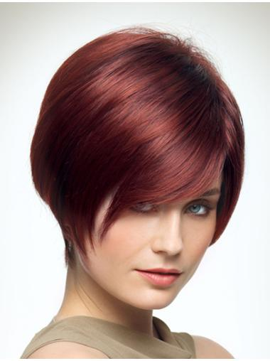 Capless Red Stylish Short Wigs For Women