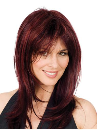 Fashionable Layered Shoulder Length Red Full Lace Wig