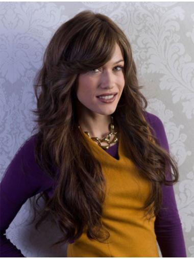 Long With Bangs Brown No-Fuss Remy Full Lace Wigs Human Hair