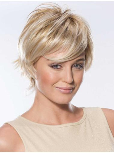 Boycuts Straight Designed Short Blonde Human Hair Wigs