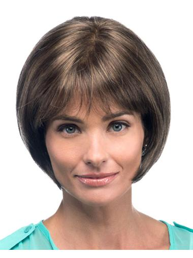 100% Hand-Tied Straight Chin Length Synthetic Bob Lace Wigs For Sale