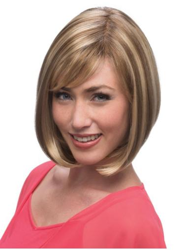 Straight Chin Length 12 Inches Affordable Monofilament Wigs