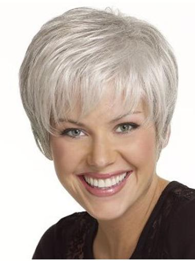 Flexibility Short Straight Grey Wigs On Young Women
