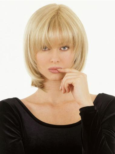 Monofilament Pure Natural Wigs With Bangs Chin Length Best