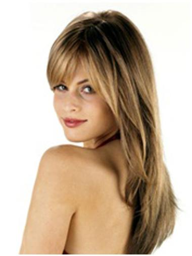 Brown With Bangs High Quality Long Synthetic Lace Wigs