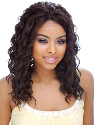 Without Bangs Curly Sassy Natural Hair Wigs For Black Hair