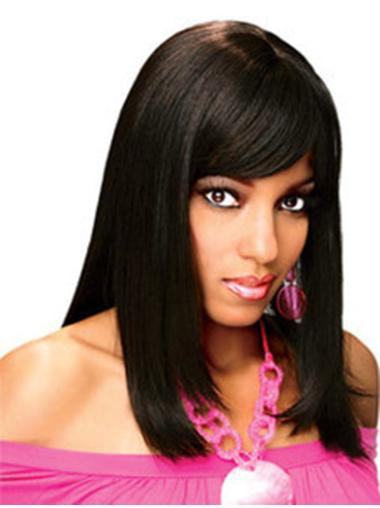 """Straight Shoulder Length 14"""" No-Fuss Full Wigs That Look Real"""