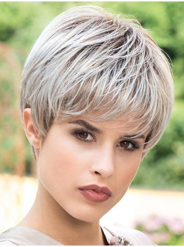 Synthetic Straight Boycuts Capless Short Wig