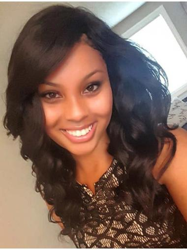 Perfect 17 Inches Long With Bangs Wavy 360 Lace Wigs For Black Hair