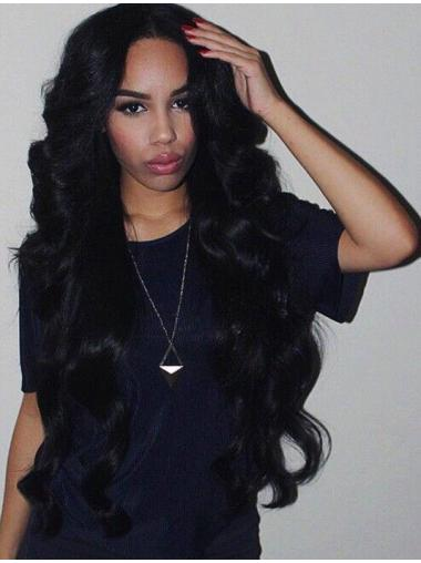 Ideal 26 Inches Long Without Bangs Wavy 360 Lace Wigs For Black Women