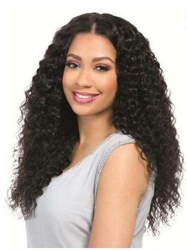 Good 18 Inches Long Without Bangs Curly Black Breathable 360 Lace Wig