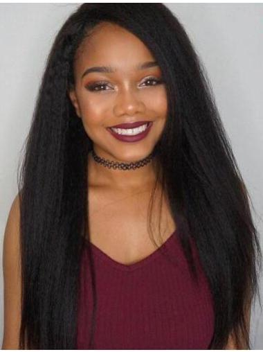 Cheapest Black Without Bangs 22 Inches Human Wigs 360 Lace