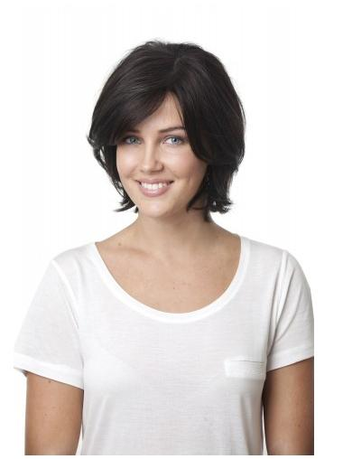 Black With Bangs Synthetic Popular Lace Wigs With Natural Hairline