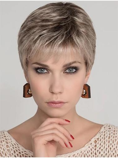 "Straight 4"" Cropped Synthetic Platinum Blonde Mono Top Wigs"