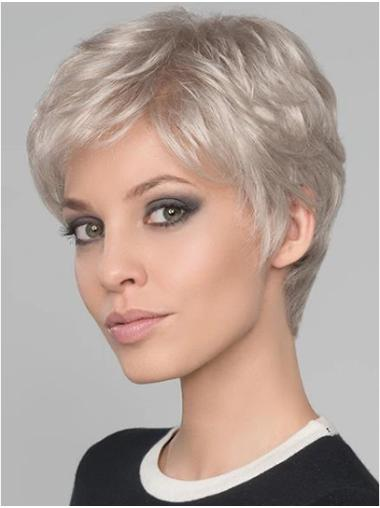 "Wavy 4"" Platinum Blonde Monofilament Boycuts Short Wigs"