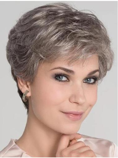 "Wavy 4"" Platinum Blonde Monofilament Boycuts Short Wig"