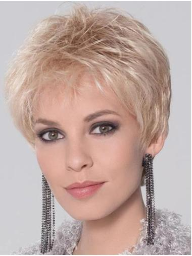 """Straight 4"""" Cropped Synthetic Blonde Monofilament Wigs For Women"""