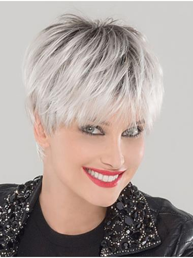 """Straight 6"""" Cropped Synthetic Platinum Blonde Ladies Monofilament Wigs"""