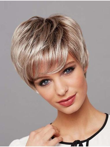 """Straight 8"""" Platinum Blonde Layered Short Wigs Lace Front"""