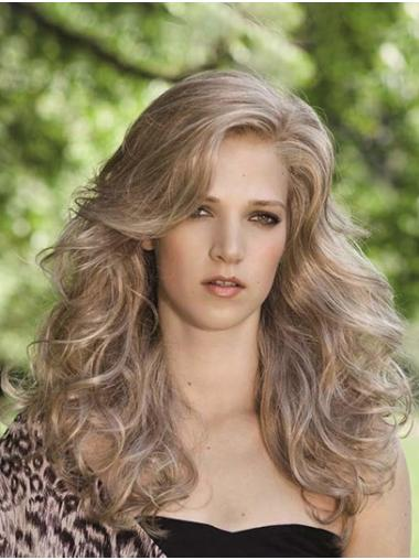 "16"" Curly Blonde Synthetic Layered Long Wigs"