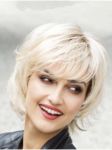 "10"" Wavy Platinum Blonde Synthetic Layered Medium Wigs Women"