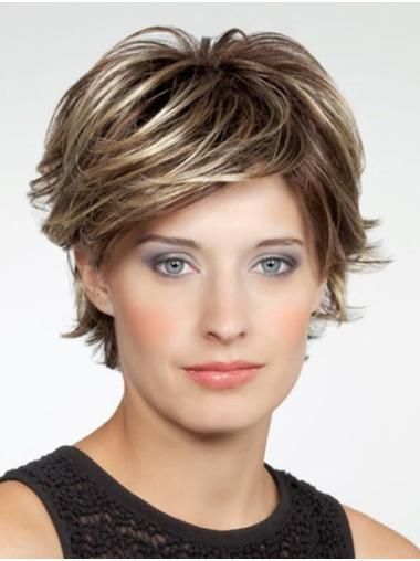 """Wavy 10"""" Brown Monofilament Layered Very Cheap Synthetic Wigs"""