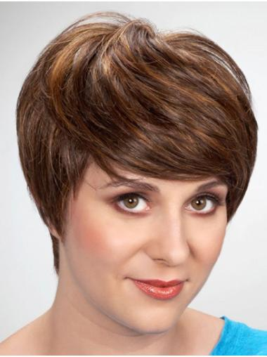 """Straight 8"""" Brown Monofilament With Bangs Synthetic Wig"""