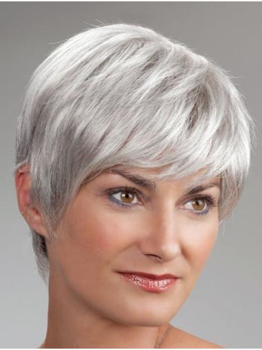 "Monofilament 8"" Short Synthetic Boycuts Best Wigs For Elderly Lady"